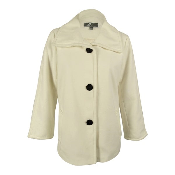 JM Collection Women's Wing-Collar Coat - XL
