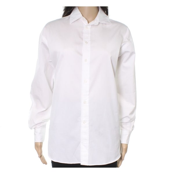 Lauren White Womens Button Ralph Bright Polo Shirt Down Size New 4 SpzVUMq