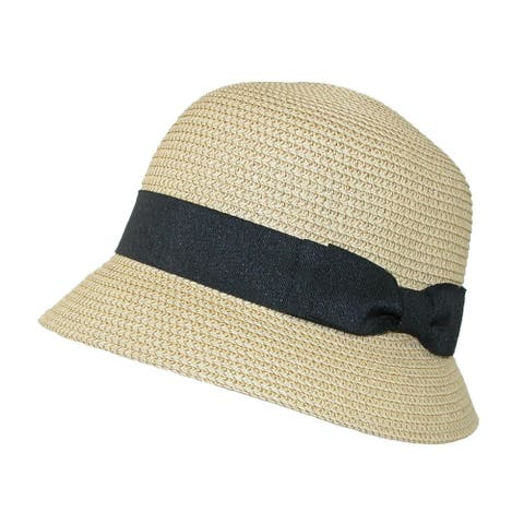 Jeanne Simmons Women's Paper Braided Summer Sun Cloche Hat