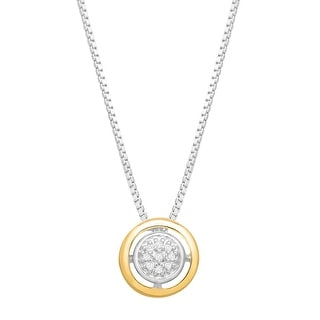Halo Pendant with Diamonds in Sterling Silver and 14K Gold