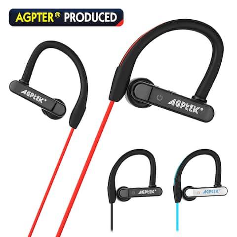 AGPtek Waterproof Bluetooth Earbuds Beats Sports Wireless Headphones in Ear Headsets,color Red