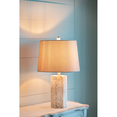 Hexagonal Cylinder Table Lamp with Drum Shade