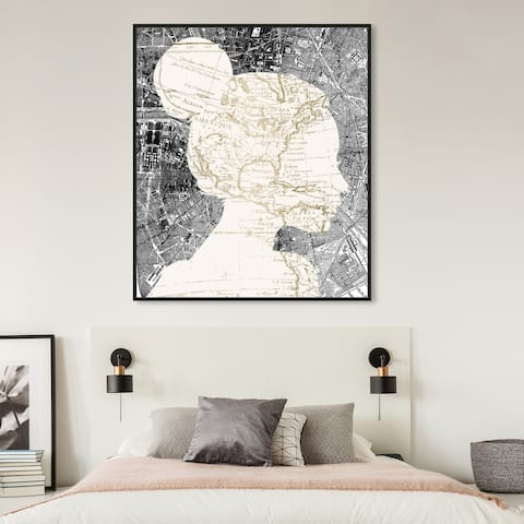 Oliver Gal 'The Map Lover' Maps and Flags Wall Art Framed Canvas Print World Maps - White, Gray