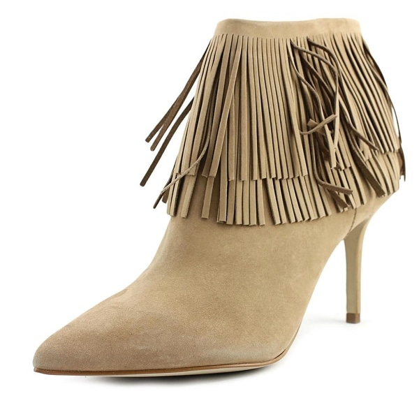 Brian Atwood Nova Women Pointed Toe Suede Tan Bootie