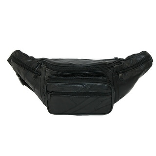 CTM® Patch Leather Small Waist Pack - Black