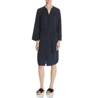 Vince Womens Shirtdress Silk Shirred