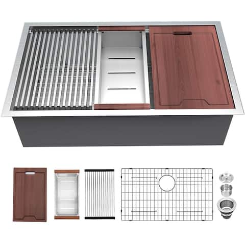 Lordear 26 Inch Kitchen Sink Undermount Ledge Workstation Deep Single Bowl 16 Gauge Stainless Steel Kitchen Sink