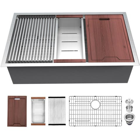 Lordear 30/33/32 Inch Stainless Steel Kitchen Sink Undermount Ledge Workstation Deep Single Bowl 16 Gauge