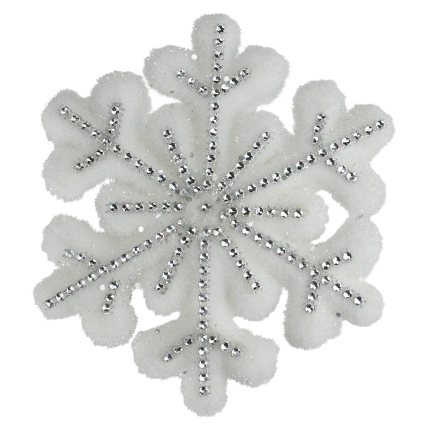 "6.75"" White Glitter Snowflake Hanging Christmas Decoration - silver"
