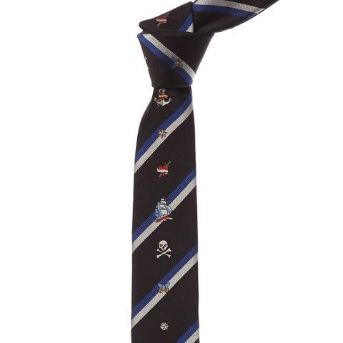 Valentino Black & Blue Stripe Silk Tie - NoSize