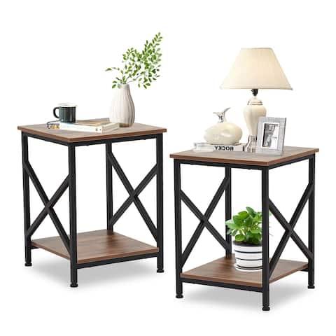Kinbor Set of 2 Nightstands for Bedroom, Rustic Bedside End Table, Industrial Night Stands w/ X-Design, 2-Tier Storage Shelf