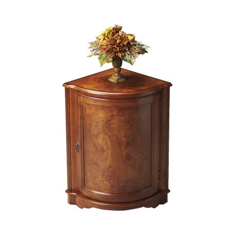 Traditional Quarter Round Wooden Corner Cabinet in Olive Ash Burl Finish - Medium Brown