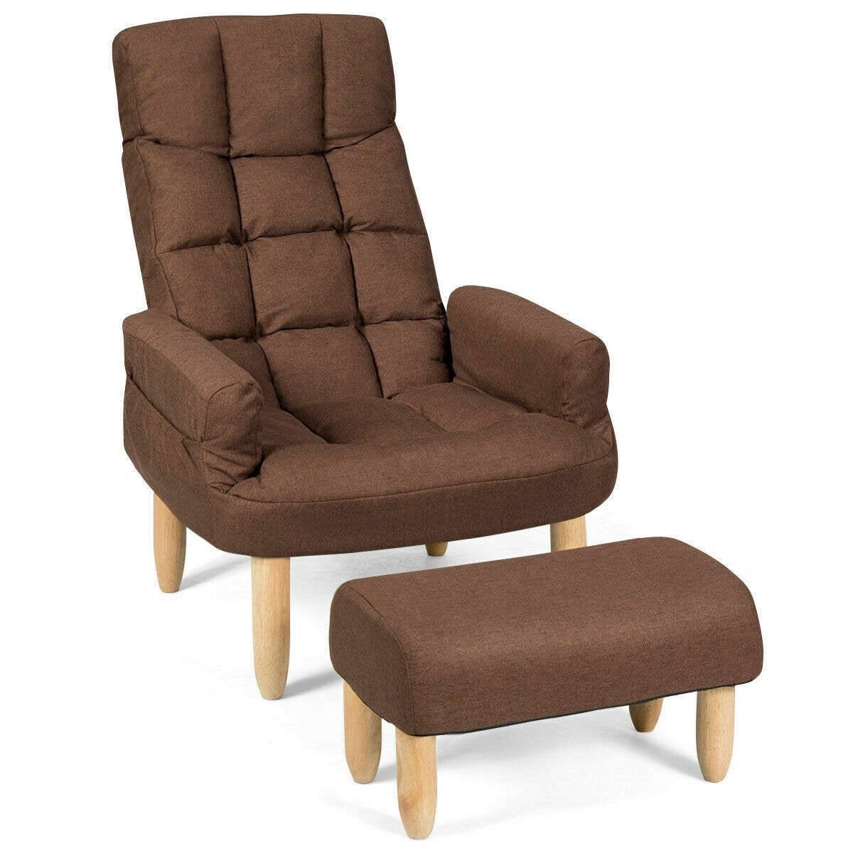 Gymax Adjustable Backrest Headrest Lazy Sofa Chair With Footstool Armrest -  As the picture shows