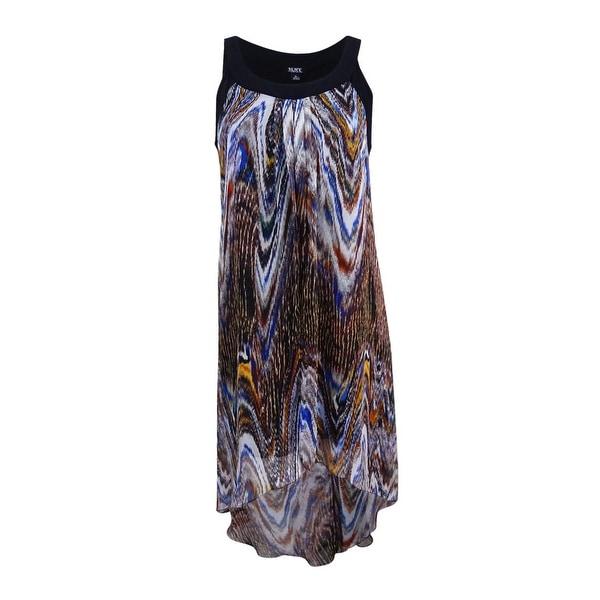 6e12453c SL Fashions Women's Printed Chiffon High-Low Dress - Multi