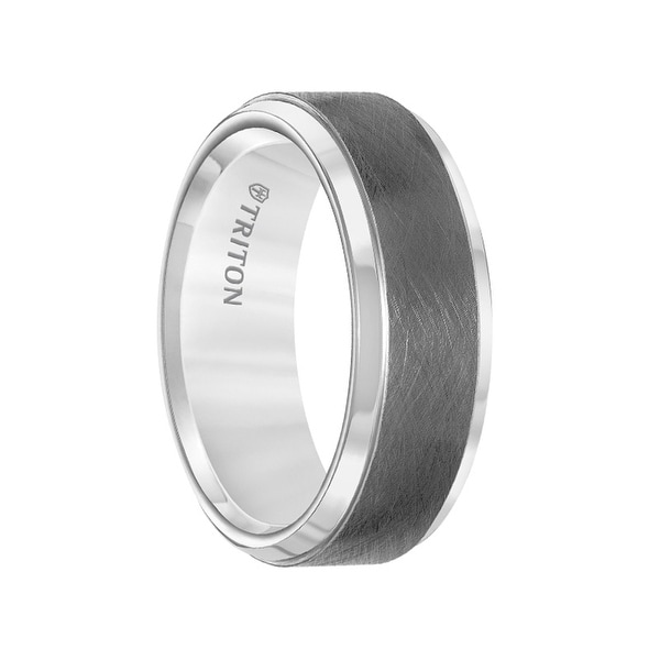 White Tungsten Two-Tone Wire Brushed Center Men's Wedding Band with Polished Edges by Triton Rings - 8mm