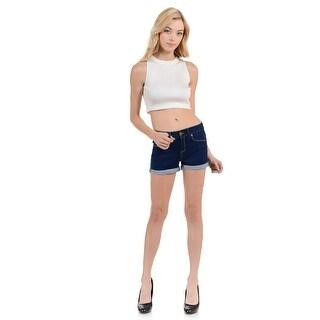Sweet Look Women's Shorts - Denim -WG0218 - Color - Navy - Size - 11