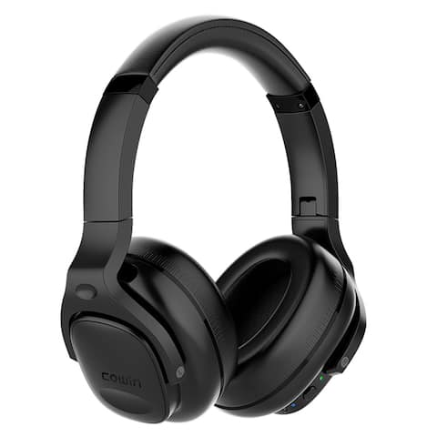 COWIN E9 Max [Upgraded] Active Noise Cancelling Bluetooth Wireless Over-Ear Headphones with Mic./Aptx, 30 Hours Playtime - Black