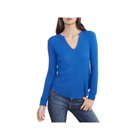 Velvet Womens Thermal Top Waffle Knit Ribbed Trim - S