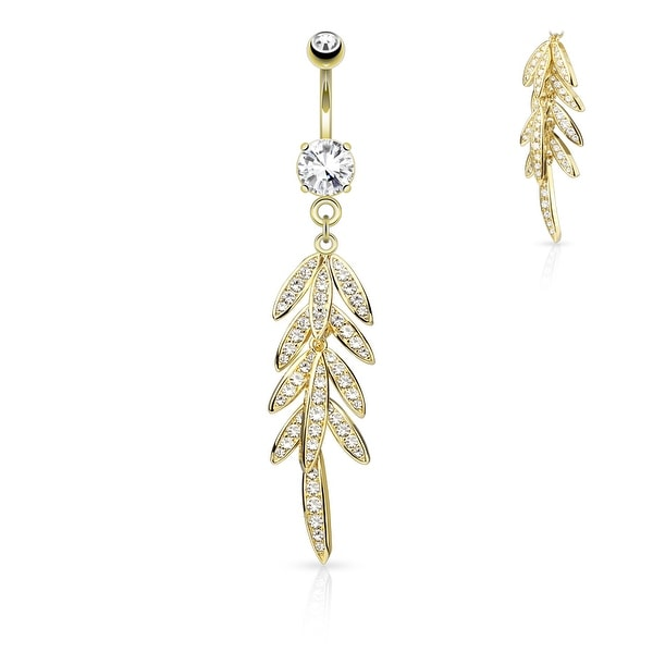 Pave CZ Leaves Dangle Surgical Steel Belly Button Navel Ring - 14GA (Sold Ind.)