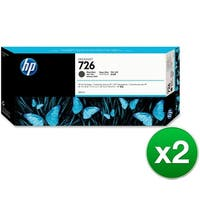 HP 726 300ml Matte Black DesignJet Ink Cartridge (CH575A)(2-Pack)