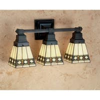 """Meyda Tiffany 48028 Stained Glass / Tiffany 3-Light 20"""" Wide Bathroom Fixture from the Diamond Mission Collection"""