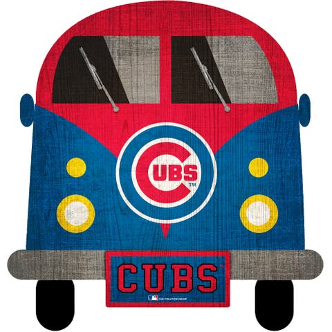 """Chicago Cubs Team Bus 12"""" Wooden Sign"""