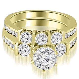 1.90 CT.TW Bar Set Round Cut Diamond Engagement Set - White H-I