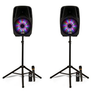 """Acoustic Audio PRTY81 Battery Powered 8"""" Bluetooth LED Speakers w/ Mics & Stands"""
