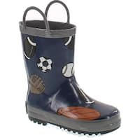 Foxfire For Kids 600-14 Navy Rubber Boot With Gray Trim And Baseball Football Soccer And Basketball Pattern