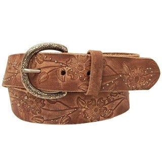 Roper Western Belt Womens Distressed Floral Embossed Bark 8815790