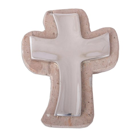 """Handmade Lithe Cross Pewter And Reclaimed Stone Wall Cross (Mexico) - 7"""" H x 5.75"""" W x 1"""" D"""