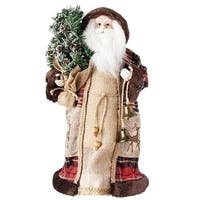"""Pack of 2 Brown and Red Santa Claus Christmas Figures with Tree and Bell 18"""""""