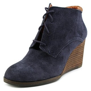Lucky Brand Sumba Women Open Toe Suede Wedge Heel