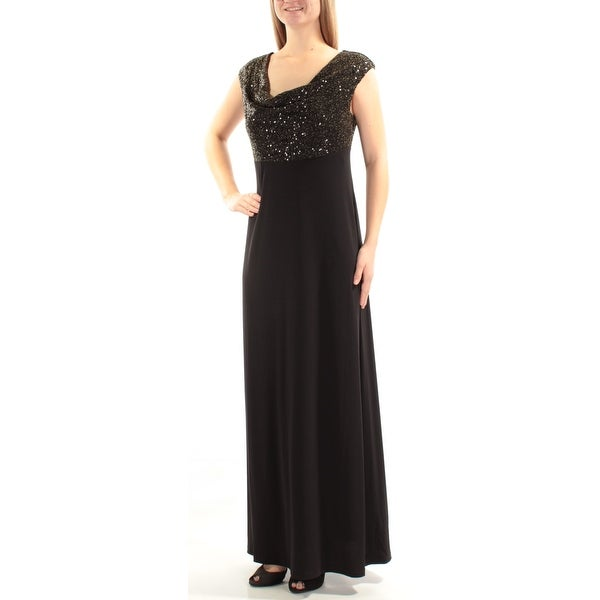 Shop Connected Womens Black Sequined Metallic Sleeveless