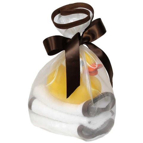Raindrops Unisex Baby Loved 5 Pc Wash Cloth and Rubber Ducky Set Chocolate One Size - One Size