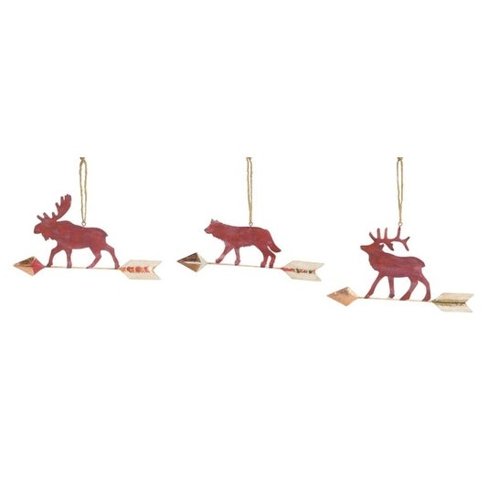 Pack of 6 of an Assortment of 3 Red Animal Arrow Ornaments 9.25""