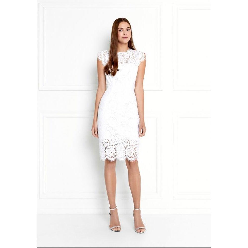RACHEL ZOE White Short Sleeve Knee Length Sheath Dress Size 8