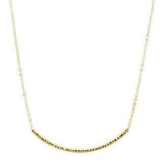 Eternity Gold Faceted Curved Bar Necklace In 10K Gold Yellow
