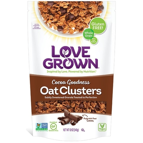 Love Grown Foods Oat Clusters - Cocoa Goodness - Case of 6 - 12 oz.