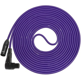 LyxPro - 25 Ft - Black - XLR Male to Right Angle Female Microphone Cable for professional Microphone & Devices (Option: Purple)