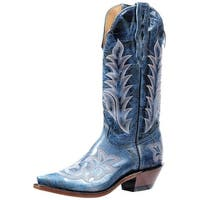 Boulet Western Boots Womens Snip Cowboy Heel Puma Turqueza