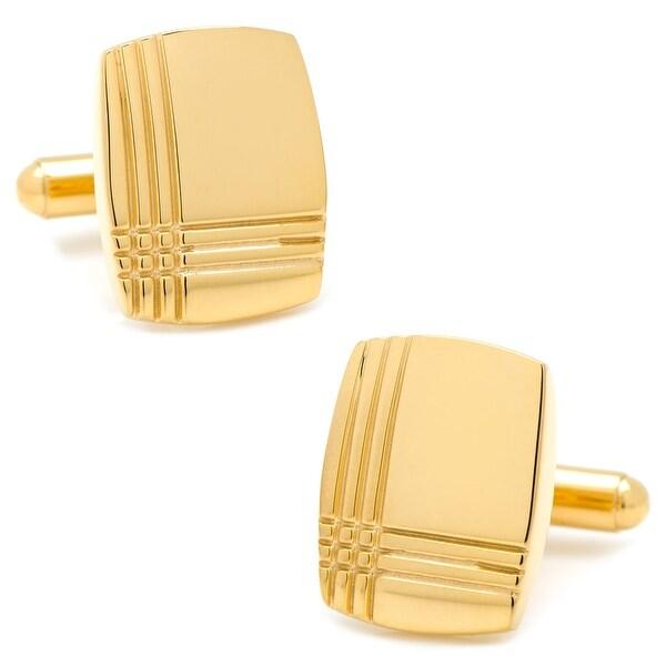 Stainless Steel Gold Tartan Plaid Cufflinks