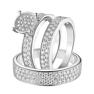 Sterling Silver Trio Rings Wedding Set His Her 3pc Engagement Band Mens Ladies