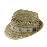 Guy Harvey 50s Style Straw Fedora Hat w/Khaki Marlin Band