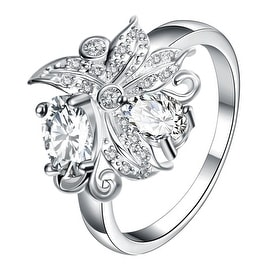 Petite Crystal Blossom Floral Modern Ring