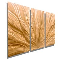 Statements2000 3-Panel Light Copper Modern Abstract Metal Wall Art Painting - Copper Plumage 3P