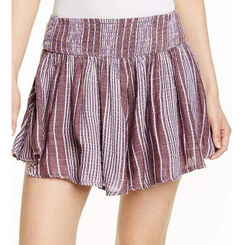 Free People Women's Shorts Purple Size XS She Will Be Loved Striped
