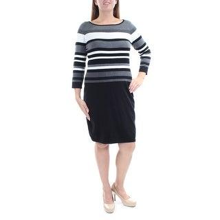 Womens Black Striped 3/4 Sleeve Above The Knee Sheath Wear To Work Dress Size: L