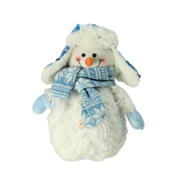 "9.5"" Arctic Blue and White Snowman Wearing Trapper Hat Christmas Decoration"