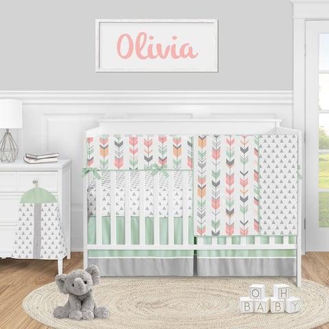 Woodland Arrow Collection Girl 5-piece Nursery Crib Bedding Set - Mod Coral Grey and Mint